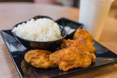 Koreanska varma såsstekta kycklingar och kryddigt som tjänas som med ris Royaltyfri Bild