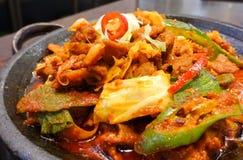 Koreanskt kryddigt marinerat griskött med chili och kimchi Royaltyfri Foto