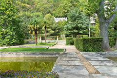 KOREIZ, CRIMEA, RUSSIA - SEPTEMBER 19.2014: The pond in the Park of the Yusupov Palace. Stock Photo
