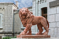 KOREIZ, CRIMEA, RUSSIA - SEPTEMBER 19.2014: Terracotta lion on the porch of the main entrance of the Yusupov Palace. Stock Photography