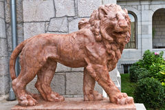 KOREIZ, CRIMEA, RUSSIA - SEPTEMBER 19.2014: Terracotta lion on the porch of the main entrance of the Yusupov Palace. Royalty Free Stock Photos