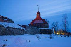 Korela fortress in the February twilight. The tower of Lars Torstensson. Priozersk. Russia Royalty Free Stock Image
