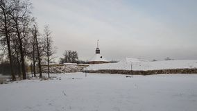 The Korela fortress winter. Priozersk, Russia. Old Korela fortress in the town of Priozersk, Russia stock footage