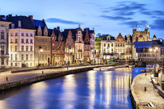 Korenlei embankment in Ghent, Belgium stock image