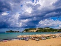 Korfu - Agios Georgios strand Arkivbild