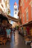 24 Korfu-AUGUSTUS: De de Kerkklokketoren van Heilige Spyridon in Kerkyra op 24,2014 Augustus op het Eiland Korfu, in Griekenland Royalty-vrije Stock Afbeelding