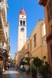 24 Korfu-AUGUSTUS: De de Kerkklokketoren van Heilige Spyridon in Kerkyra OP 24,2014 Augustus op het eiland van Korfu, Griekenland Stock Afbeelding