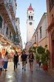 24 Korfu-AUGUSTUS: De de Kerkklokketoren van Heilige Spyridon op 24,2014 Augustus op het eiland van Korfu, Griekenland Royalty-vrije Stock Afbeelding