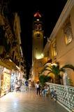 27 Korfu-AUGUSTUS: De Kerk van Heilige Spyridon bij nacht op 27,2014 Augustus op het eiland van Korfu, Griekenland Royalty-vrije Stock Afbeeldingen
