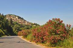 Korfu-Dorf pelekas Stockbild