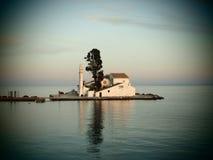 Korfu Grekland-Vlacherna kloster av Panayia Arkivfoton