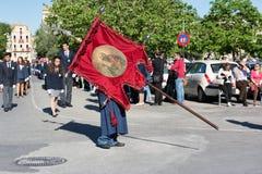 KORFU, GRIECHENLAND - 30. APRIL 2016: Prozession des heiligen Körpers des Heiligen Spyridon, Schutzpatron von Korfu Lizenzfreie Stockfotografie