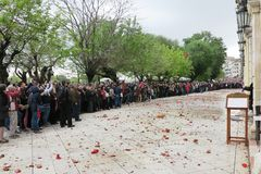 Korfu, Griekenland 19/04/2014, Pasen-viering royalty-vrije stock foto's