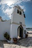 Korfu kyrka Arkivfoto