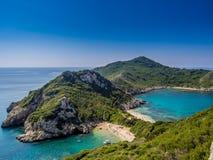 Korfu - Porto Timoni strand Arkivbild