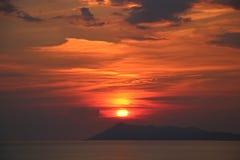 Korfu solnedgång royaltyfri bild