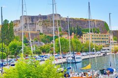 Korfu stadkust Grekland Royaltyfria Bilder