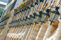 Korfu-StadtListon quadratische Leuchten Stockfotografie