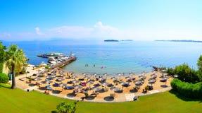 Korfu strandsemesterort, Grekland Royaltyfria Bilder