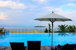 Korfu strandsemesterort, Grekland Arkivbild