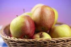 Korg av äpplen Fotografering för Bildbyråer