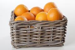 Korg av apelsiner med clippingmaskeringen Royaltyfri Foto
