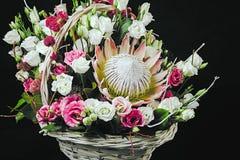 Korg av blommor på mörker Royaltyfri Fotografi