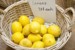 Korg av citroner Fotografering för Bildbyråer