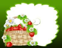 Korg av jordgubbar Arkivbild