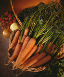Korg av organiska morötter Arkivfoton