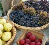 Korg av purpurfärgade druvor och röd frukt Royaltyfria Foton
