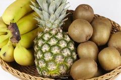 Korg av tropiska frukter Arkivfoton
