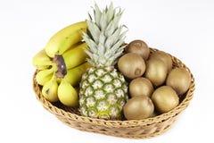 Korg av tropiska frukter Royaltyfria Bilder