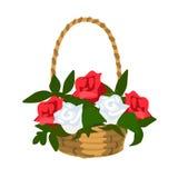 Korg av vita och röda rosor stock illustrationer