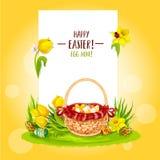 Korg för jakt för påskägg med blommor och kopieringsutrymme stock illustrationer