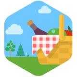 Korg för picknick med vin och frukt mot gräs- äng arkivfoton