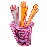 Korg för teckningsbarnvattenfärg, avfalltecknad film Royaltyfria Bilder