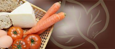 Korg med biologiska frukter, grönsaker, ägg, ost och bröd, bio skriftligt Fotografering för Bildbyråer