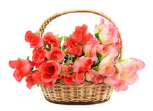 Korg med blommor Royaltyfri Foto