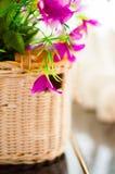 Korg med dekorativa blommor på tabellen som delen av inre Arkivbilder