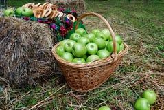 Korg av äpplen Royaltyfria Foton