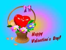 Korg med hjärta och blommor Arkivfoto