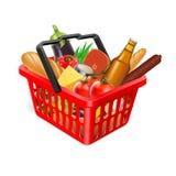 Korg med mat stock illustrationer