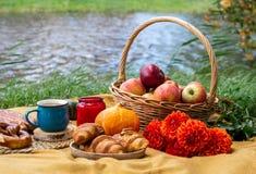 Korg med matbagerit Autumn Picnic arkivbilder