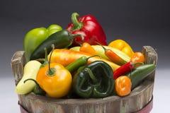Korg med olika typer av varma chilies Arkivbild