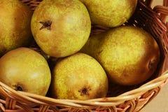 Korg med päron Fotografering för Bildbyråer