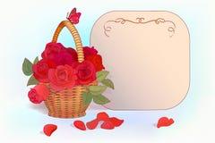 Korg med rosbakgrund Royaltyfri Fotografi