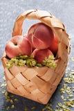 Korg med saftiga persikor Arkivbilder