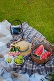 Korg med vattenmelon, bunken med gröna äpplen, buketten av rosa rosor, sugrörhatten, korgen med blåttflaskan, böcker och valnötte arkivfoto