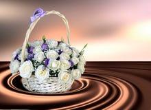 Korg med vita rosor på en abstrakt bakgrund Bakgrund 3D Royaltyfri Foto
